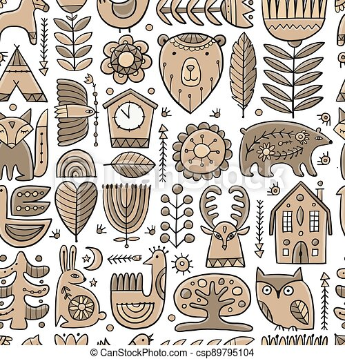 Nordic Ornament. Forest Animals, Folk Background. Seamless pattern for your design - csp89795104