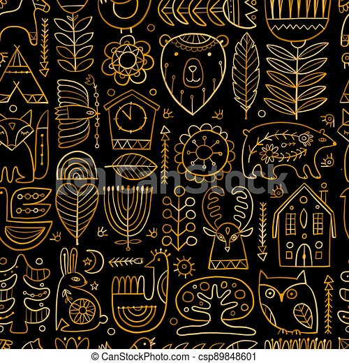 Nordic Ornament. Forest Animals, Folk Background. Seamless pattern for your design - csp89848601
