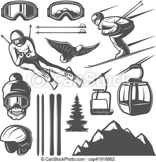 Nordic Skiing Elements Set - csp41916862