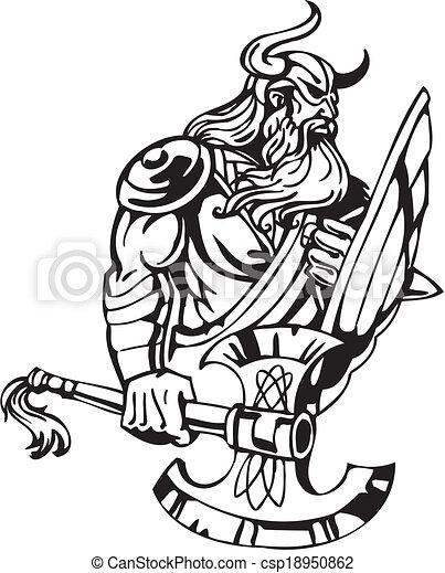 Nordic viking - vector illustration. Vinyl-ready. - csp18950862