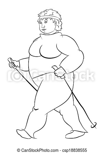 Nordic Walking Coloring Page With Obese Woman Practicing Nordic