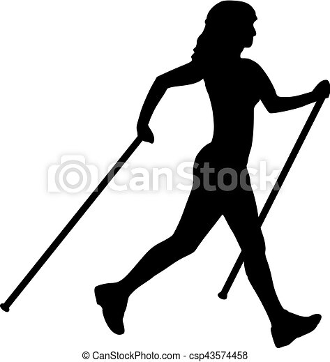 Nordic walking woman silhouette clipart vector - Search ...