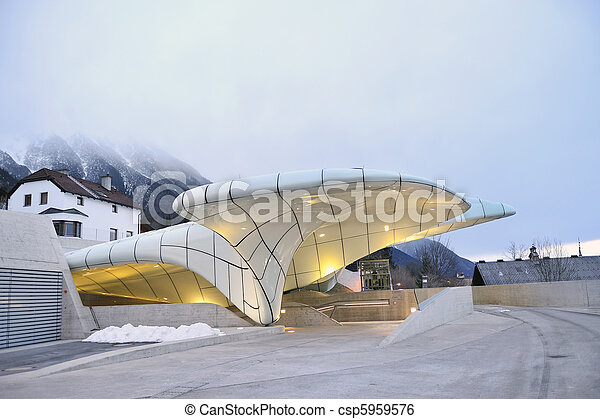 NORDKETTENBAHN INNSBBUCK, AUSTRIA - JANUARY 17: Funicular in Nordkettenbahnen will now transport visitors from the city center of Innsbruck to high mountain terrain. January 17, 2010 Innsbruck Austria - csp5959576