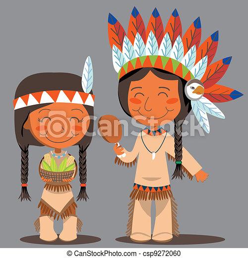 Día de Acción de Gracias pareja nativa americana - csp9272060