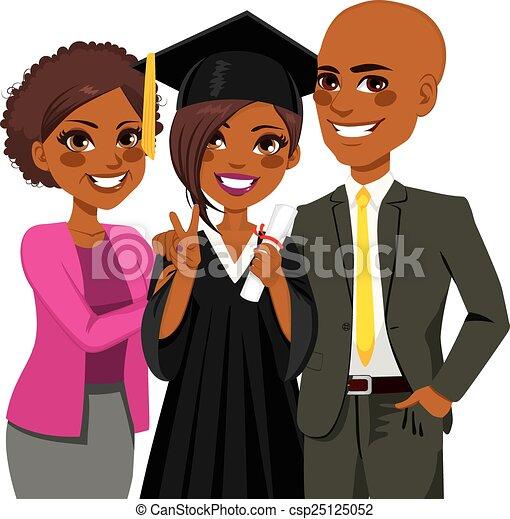 Día de graduación de la familia afroamericana - csp25125052