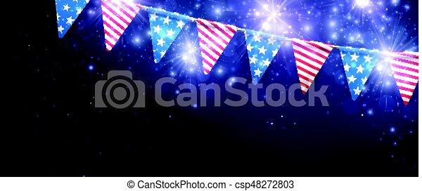 Estandarte festivo con banderas americanas. - csp48272803