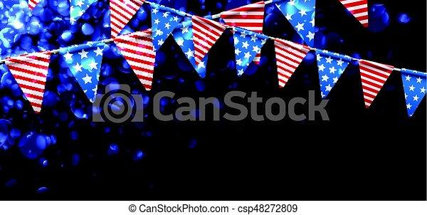 Estandarte festivo con banderas americanas. - csp48272809