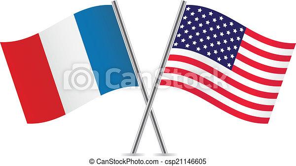 Banderas americanas y francesas. - csp21146605