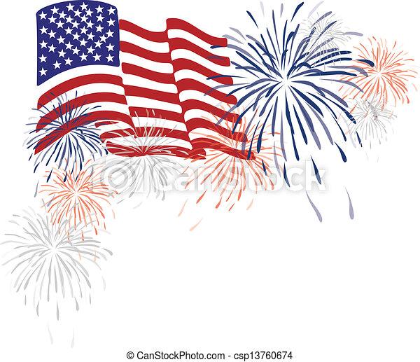 Una bandera americana y fuegos artificiales - csp13760674