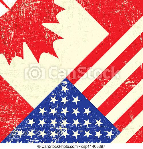 Bandera canadiense y americana grunge - csp11405397