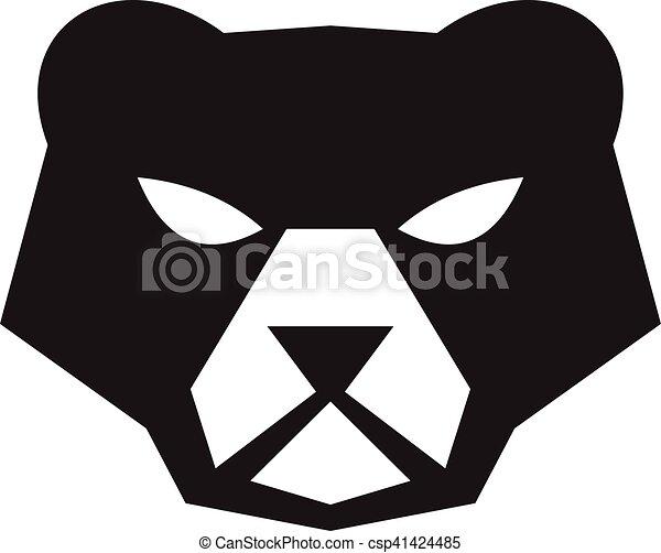 Grfico vectorial de norteamericano negro cabeza oso retro