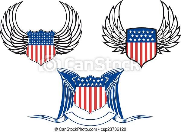 Escudos americanos con alas de ángel - csp23706120