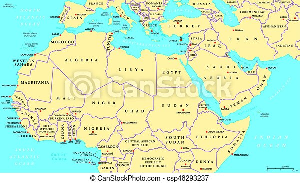 North africa and middle east political map with most important ...