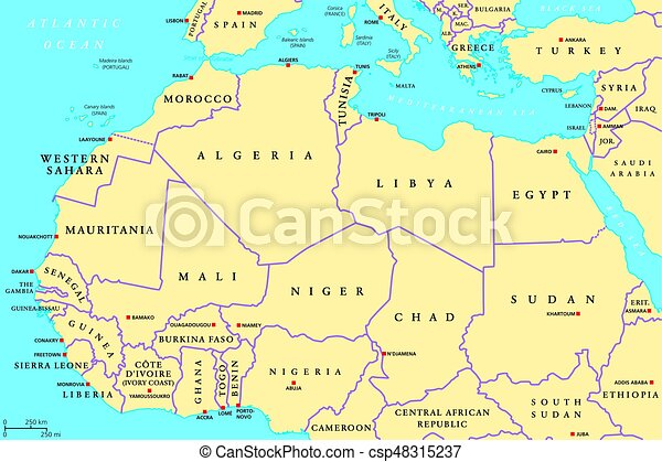North africa countries political map with capitals and borders. from ...