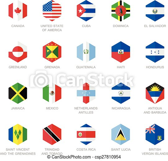 north america and caribbean flag icons hexagon flat design