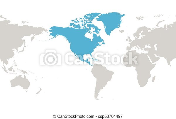 North america continent blue marked in grey silhouette of eps north america continent blue marked in grey silhouette of america centered world map simple flat gumiabroncs Image collections