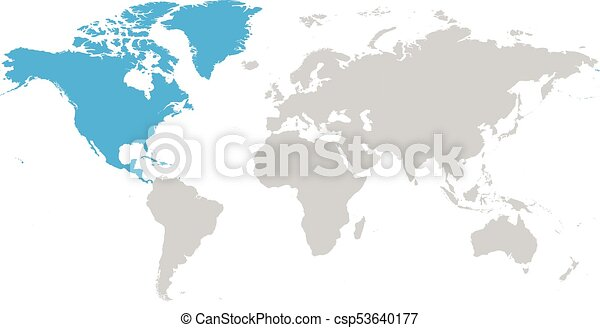 North America Continent Blue Marked In Grey Silhouette Of World Map