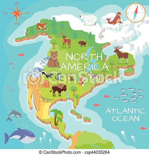 North America Isometric Map With Flora And Fauna North America