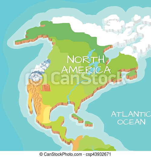 north america mainland vector cartoon relief map