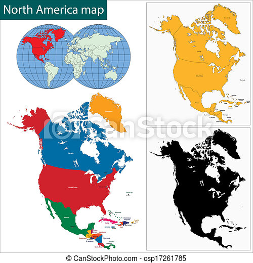 North America Map Countries And Capitals.Colorful North America Map With Countries And Capital Cities