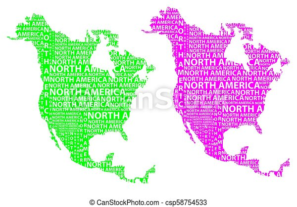 American Map Vector.North America Map Sketch North America Letter Text Continent North