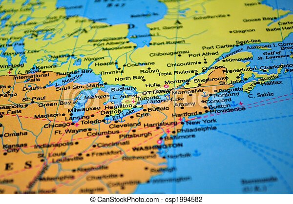 Stock Photo Of North America Map Of Canada And The United States - The united states of america map