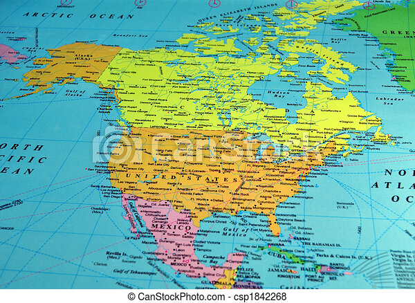 karta amerika North america map, includes names of many cities and references. karta amerika