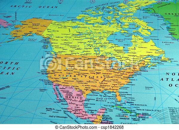 karta amerika North america map, includes names of many cities and references. karta amerika