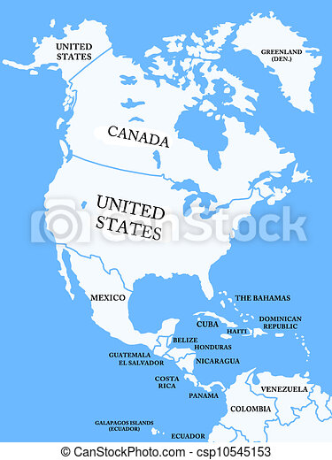 Stock Illustrations Of North America Map With Countries - North america map countries