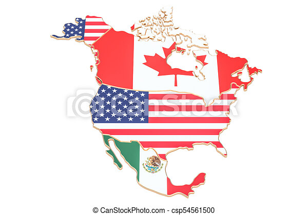 North america map with flags of the usa, canada and mexico. 3d ... on