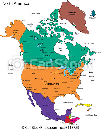 North America with Countries, Names - csp3113729