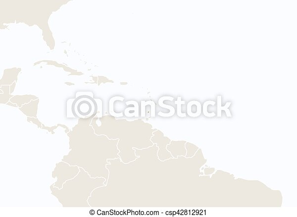 North america with highlighted grenada map vector vector