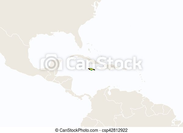 North america with highlighted jamaica map. vector illustration.