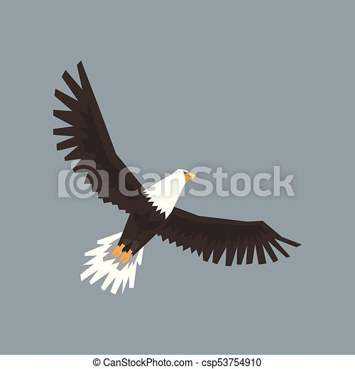 North American Bald Eagle Character Flying In The Sky Symbol Of