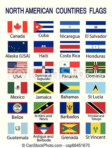 North American Countries Flags North American Countries Flag Collection Twenty Four North American Countries Flags With