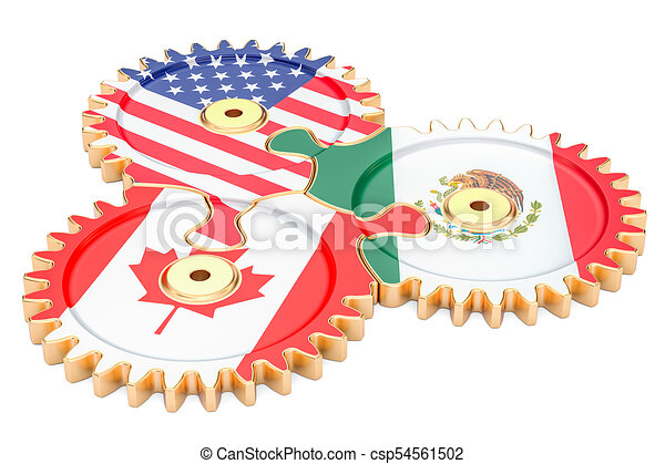 North American Free Trade Agreement Concept 3d Rendering North