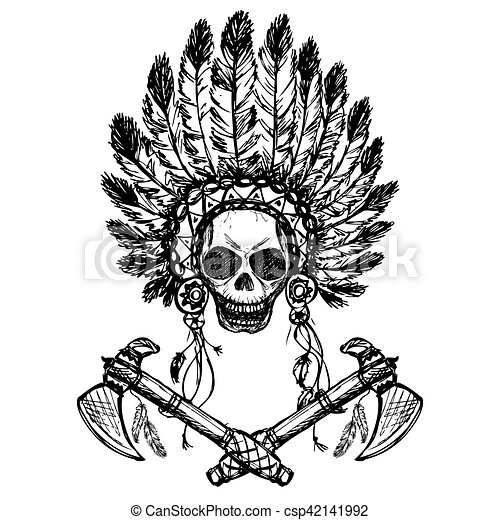 North American Indian Chief With Tomahawk Hand Drawn Vector