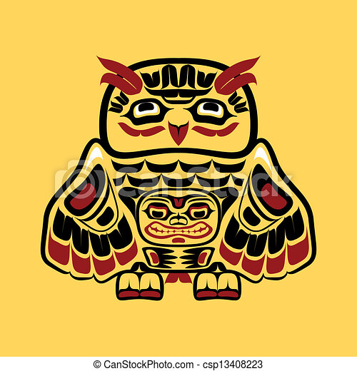 North American Native Art Owl Vector Illustration Of An Owl