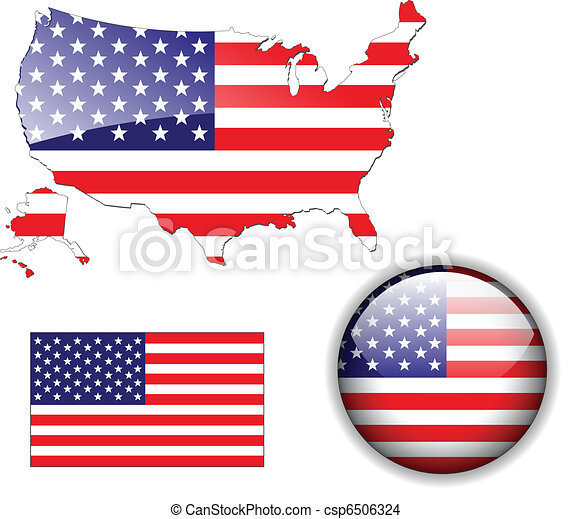 North American USA flag map and but - csp6506324