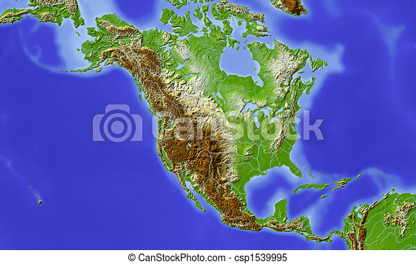 North And Central America Shaded Relief Map North And Stock - North america relief map