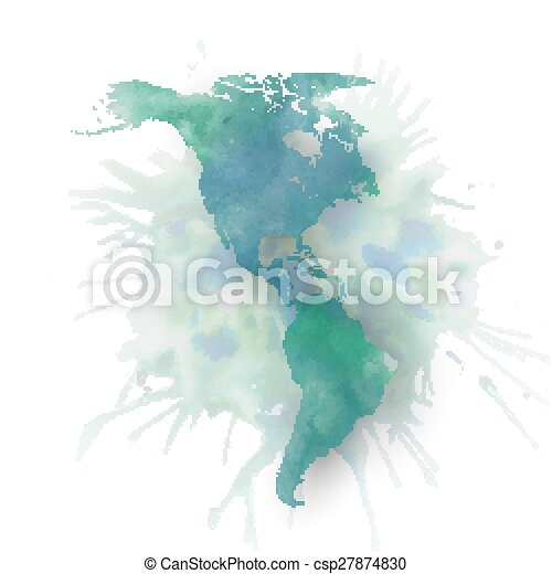 North and south america map element, abstract hand drawn watercolor ...