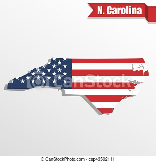 North carolina state map with us flag inside and ribbon. North ...