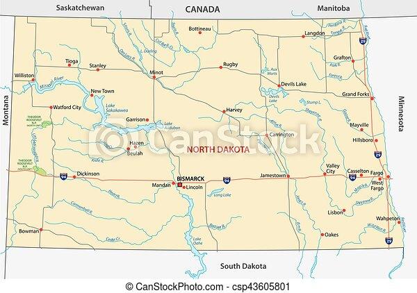 north dakota road map - csp43605801