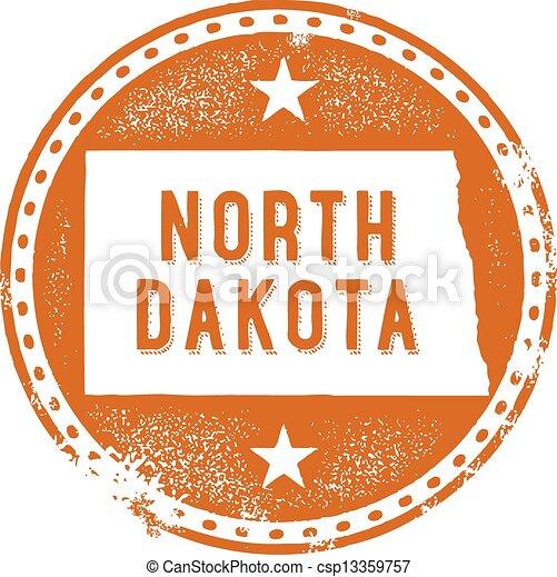 North Dakota USA State Stamp - csp13359757