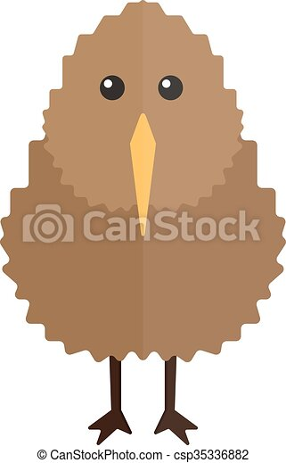 North island brown kiwi bird cartoon flat vector illustration. - csp35336882