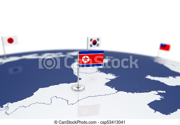 North korea flag country flag with chrome flagpole on the world map north korea flag csp53413041 gumiabroncs Images