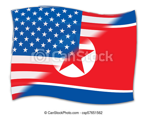 North Korean And Usa Agreement Flag 3d Illustration Shows The