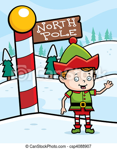 north pole elf a happy cartoon christmas elf in the north pole rh canstockphoto com north pole stamp clip art north pole clip art stamp