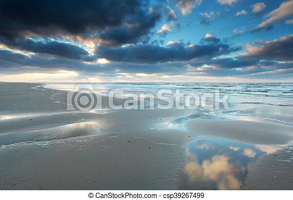 North sea beach at low tide - csp39267499