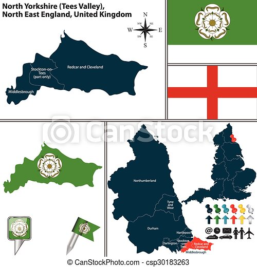 North Yorkshire North East England Uk Vector Map Of North